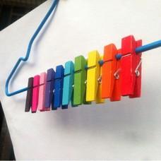 Ξύλινα Μανταλάκια Χρωματιστά 35 τμχ
