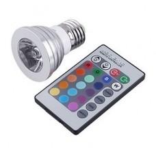 3W Λάμπα Σποτ LED Ε27 RGB με Τηλεκοντρόλ 16 Χρωμάτων