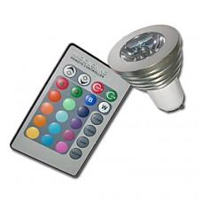 3W Λάμπα Σποτ LED GU10 RGB με Τηλεκοντρόλ 16 Χρωμάτων