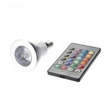3W Λάμπα Σποτ LED Ε14 RGB με Τηλεκοντρόλ 16 Χρωμάτων