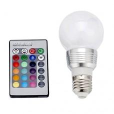 3W Λάμπα Γλόμπος LED Ε27 RGB με Τηλεκοντρόλ 16 Χρωμάτων