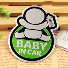 Baby in Car Αυτοκόλλητο Αυτοκινήτου Αλουμινίου Green