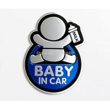 Baby in Car Αυτοκόλλητο Αυτοκινήτου Αλουμινίου Blue