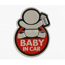 Baby in Car Αυτοκόλλητο Αυτοκινήτου Αλουμινίου Red